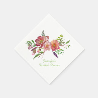 Watercolor Flowers Bridal Shower Paper Napkins