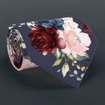 """Watercolor Flowers Burgundy Blush Navy Neck Tie<br><div class=""""desc"""">PixDezines floral watercolor neck tie,  burgundy,  dusty blush roses and navy blue.  This is an adjustable tiled image,  you can rearrange and size the pattern as you wish.  Most of our designs come with DIY background color.   Copyright © 2011-2020 PixDezines™.</div>"""