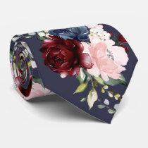 Watercolor Flowers Burgundy Blush Navy Neck Tie