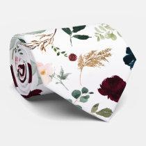 Watercolor Flowers Burgundy Blush Navy Roses Neck Tie