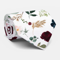 Watercolor Flowers Burgundy Blush Navy Roses Neck Tie