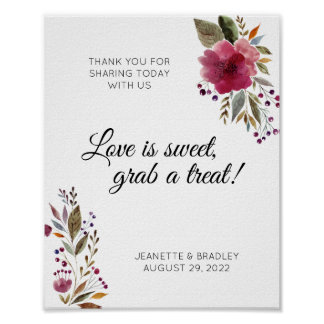Watercolor Flowers Burgundy Greenery Candy Buffet Poster