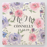 Watercolor Flowers Chic Wedding Pink Purple Roses Stone Coaster
