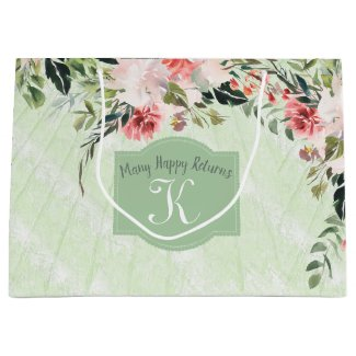 Watercolor Flowers Custom Large Gift Bag