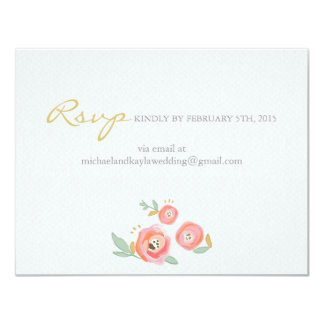 Watercolor Flowers Custom RSVP and Accommodations 4.25x5.5 Paper Invitation Card