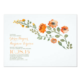 Watercolor flowers-cute floral wedding invitation