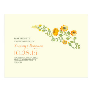 watercolor flowers cute save the date postcard