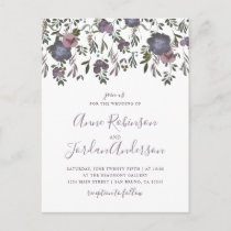 Watercolor Flowers & Damask Wedding Invitation