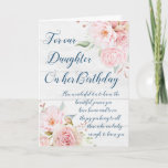 "Watercolor Flowers Daughter Birthday Card<br><div class=""desc"">Birthday card for daughter from parents with vintage pink watercolor flowers and thoughtful verse.</div>"