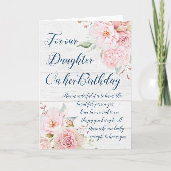 Watercolor Flowers Daughter Birthday Card