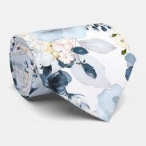Watercolor Flowers Dusty Blue Navy Roses Neck Tie