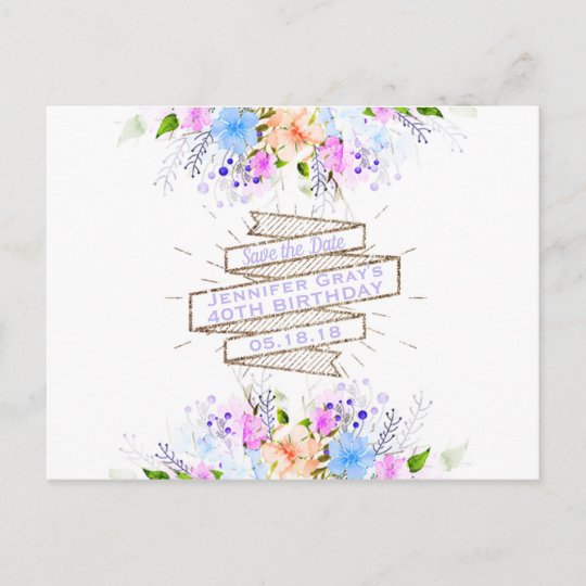 watercolor flowers elegant birthday party announcement postcard