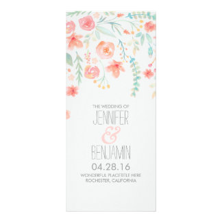 Watercolor Flowers Elegant Wedding Programs