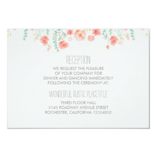 watercolor flowers elegant wedding Reception cards