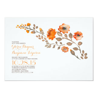 Watercolor flowers - fall wedding invitation