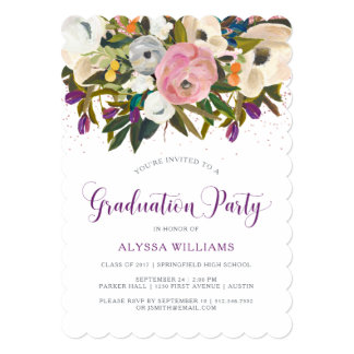 Watercolor Flowers | Faux Glitter Graduation Party Card