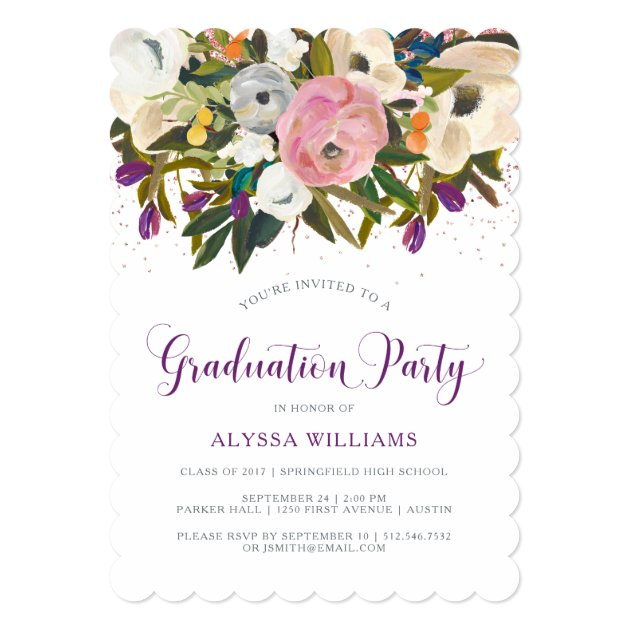 Watercolor Flowers | Faux Glitter Graduation Party Card