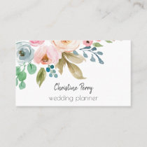 Watercolor Flowers Feminine Elegant Business Card
