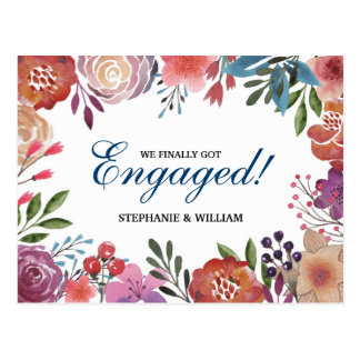 WATERCOLOR FLOWERS FINALLY GOT ENGAGED INVITATION POSTCARD