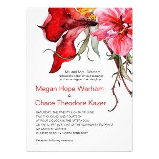 Watercolor Flowers Flora Botanica Wedding Invitation