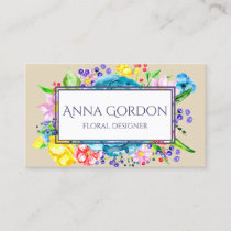 Watercolor Flowers Floral Beige Colorful Botanical Business Card