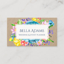 Watercolor Flowers Floral Colorful Botanical Business Card