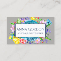 Watercolor Flowers Floral Grey Colorful Botanical Business Card