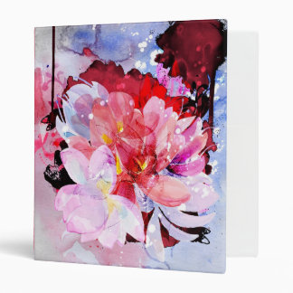 Watercolor flowers garden. Abstract illustration 3 Ring Binder
