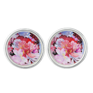 Watercolor flowers garden. Abstract illustration Cufflinks