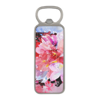 Watercolor flowers garden. Abstract illustration Magnetic Bottle Opener