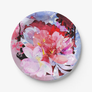 Watercolor flowers garden. Abstract illustration Paper Plate