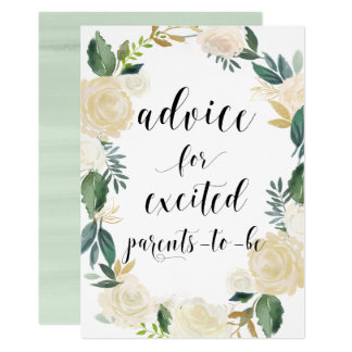 Watercolor Flowers Gold Glitter Advice for Parents Card
