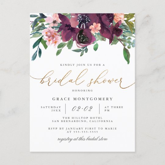 Watercolor Flowers Gold Glitter Bridal Shower Invitation Postcard
