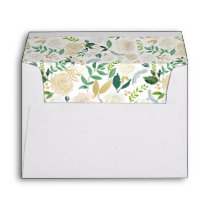 Watercolor Flowers Gold Glitter Return Address Envelope
