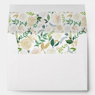 Watercolor Flowers Gold Glitter Return Address Envelope