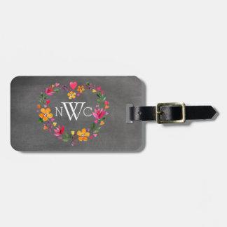 Watercolor Flowers Heart Wreath | chalkboard grey Luggage Tag