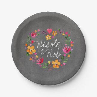 Watercolor Flowers Heart Wreath   chalkboard grey Paper Plate