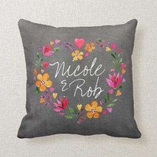 Watercolor Flowers Heart Wreath | chalkboard grey Throw Pillow
