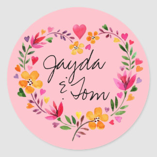 Watercolor Flowers Heart Wreath   CHANGE THE COLOR Classic Round Sticker