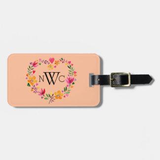 Watercolor Flowers Heart Wreath | peach Bag Tag