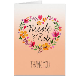 Watercolor Flowers Heart Wreath Thank You | peach Card