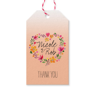 Watercolor Flowers Heart Wreath Thank You   peach Gift Tags