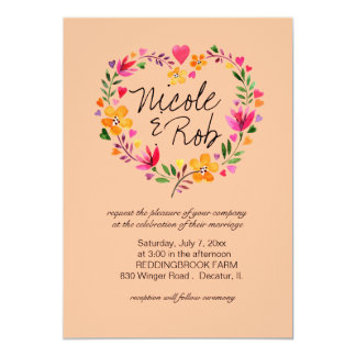 Watercolor Flowers Heart Wreath Wedding   peach Invitation