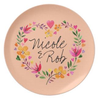 Watercolor Flowers Heart Wreath Wedding   peach Melamine Plate