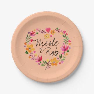 Watercolor Flowers Heart Wreath Wedding   peach Paper Plate