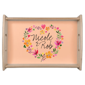 Watercolor Flowers Heart Wreath Wedding | peach Serving Tray