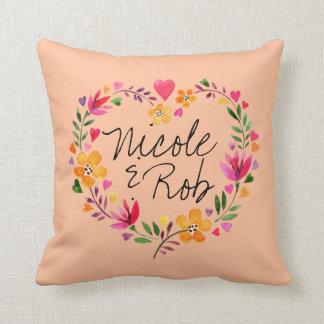 Watercolor Flowers Heart Wreath Wedding   peach Throw Pillow