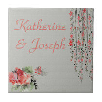 watercolor flowers in coral and green ceramic tile