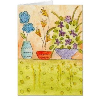 Watercolor Flowers in vases Greeting Card