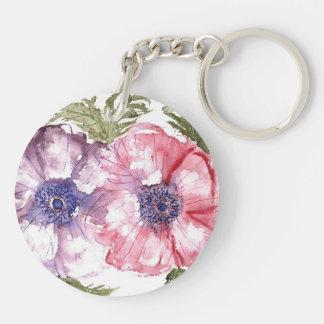 Watercolor flowers keychain